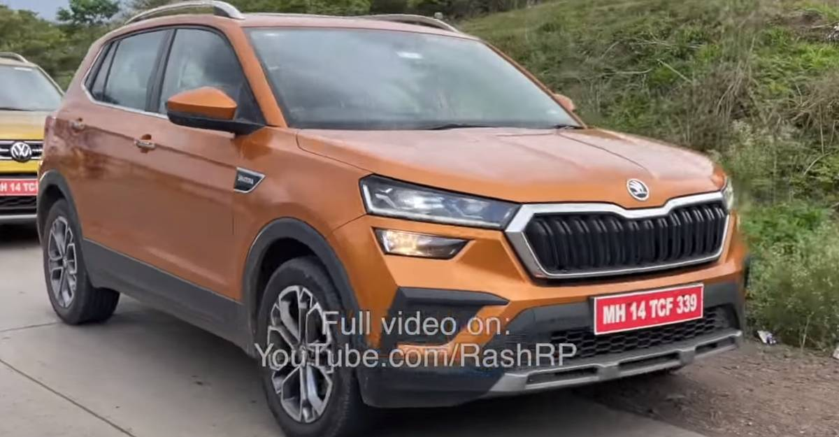 Skoda Kushaq in flagship Honey Orange colour spied before official launch