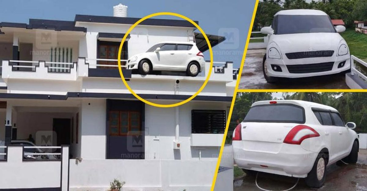 This Maruti Suzuki Swift on top of a house in Kerala is actually a chimney