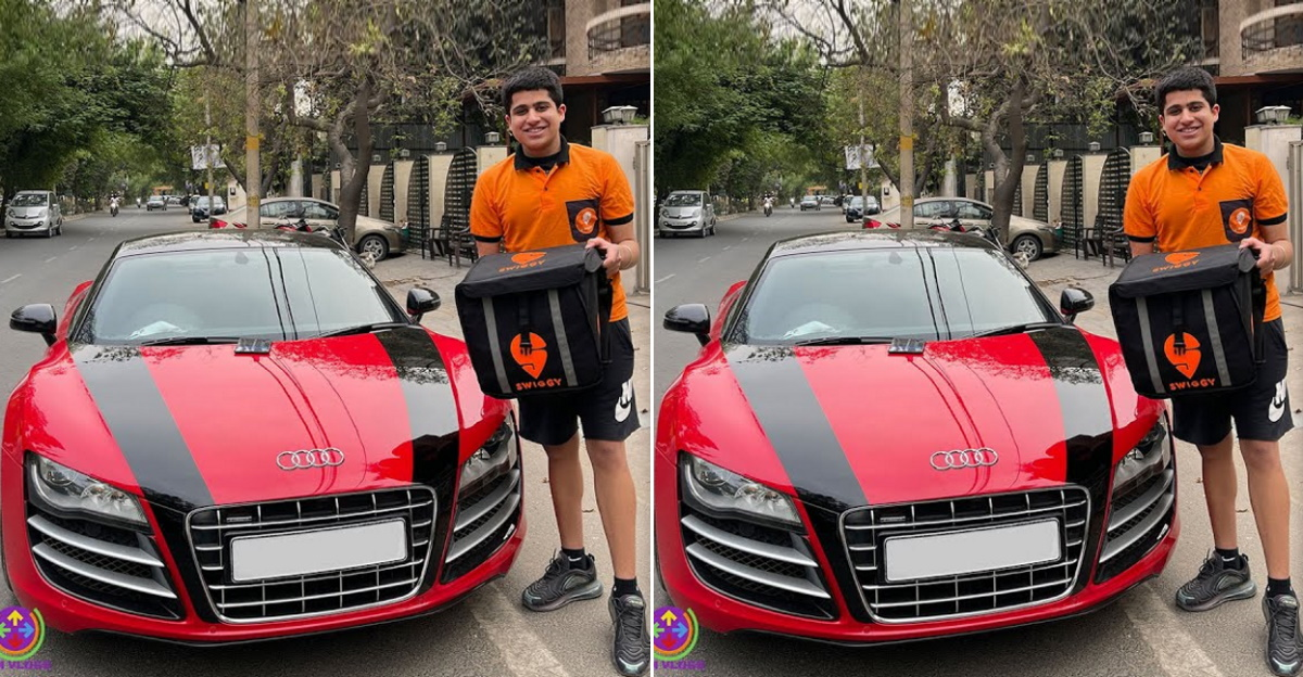 Audi R8 owner becomes a Swiggy delivery boy and delivers food in his supercar