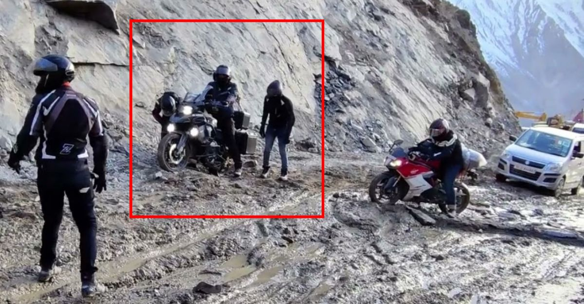 BMW 1250 GS gets royally stuck in Spiti: Needs 4 bikers to pull it out [Video]