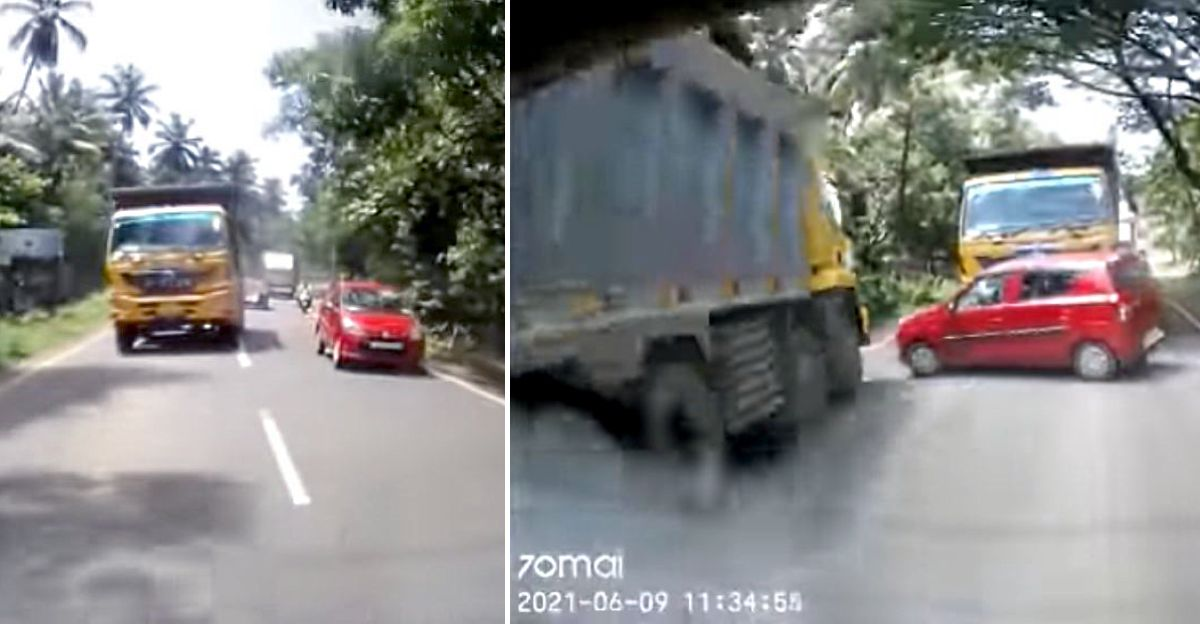 Car nearly gets sandwiched between two huge trucks after overtaking goes wrong