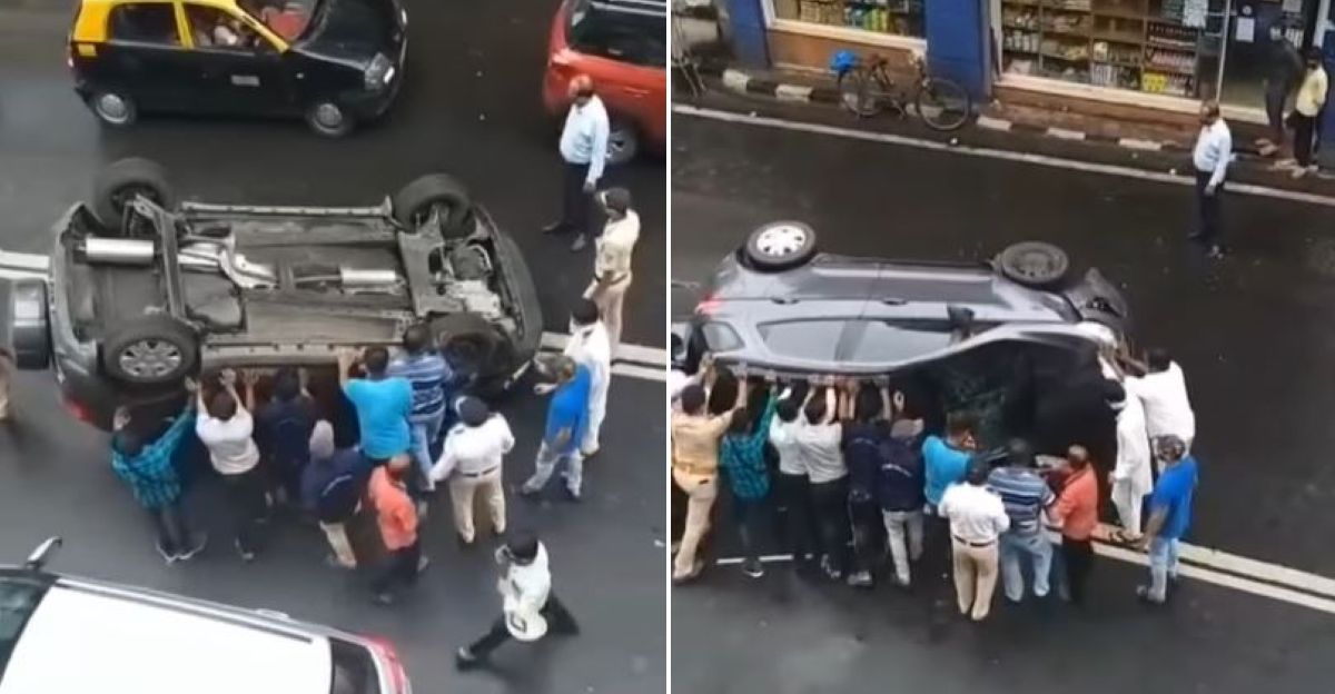 Mumbai crowd helps put overturned Ford EcoSport SUV back on its wheels
