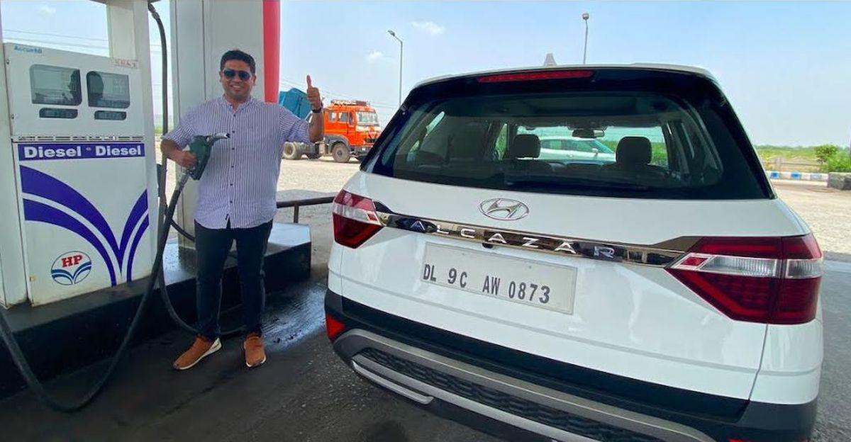 Hyundai Alcazar Diesel SUV mileage test on video
