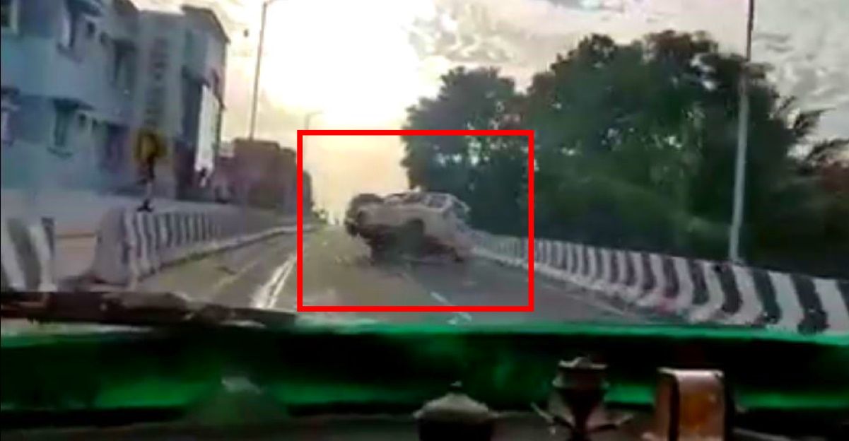 Mahindra Xylo rolls over after rash overtaking move on a flyover