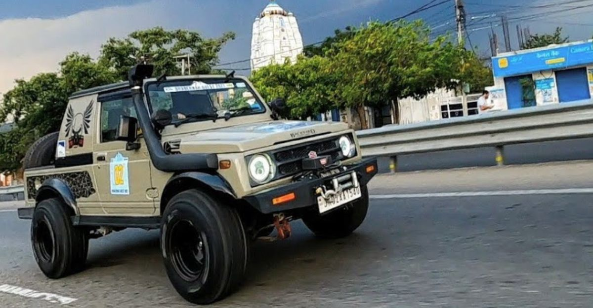 Modified Maruti Gypsy with rally cabin in a walkaround video
