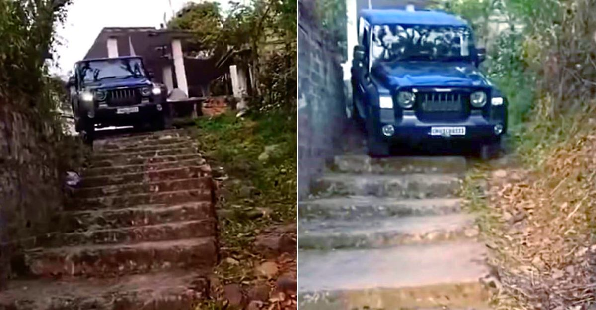 Watch New Mahindra Thar go down the stairs