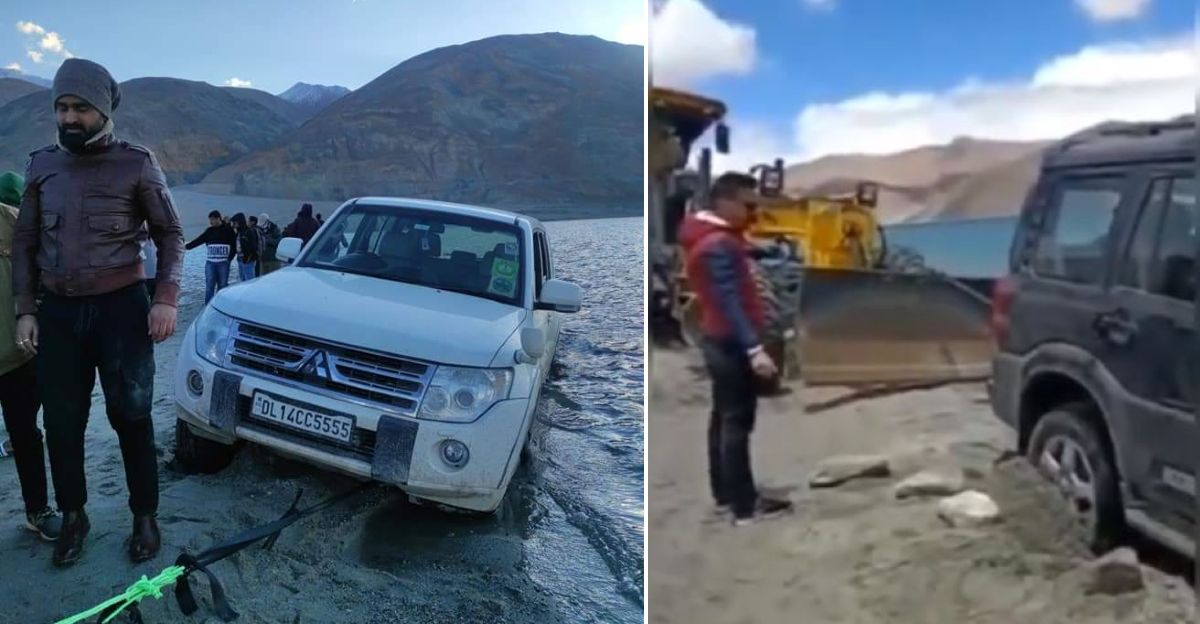 Irresponsible tourists drive into Pangong Tso in Mahindra Scorpio, Mitsubishi Montero & Isuzu V-Cross: Get stuck