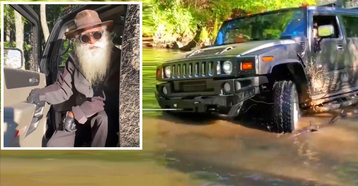 Jaggi Vasudev 'Sadhguru' shows his off-roading skills in a Hummer H2