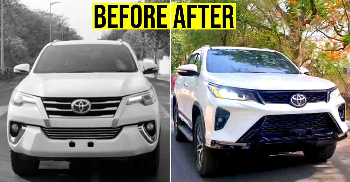 Pre-facelift Toyota Fortuner transformed into brand-new Legender for Rs 2 lakh