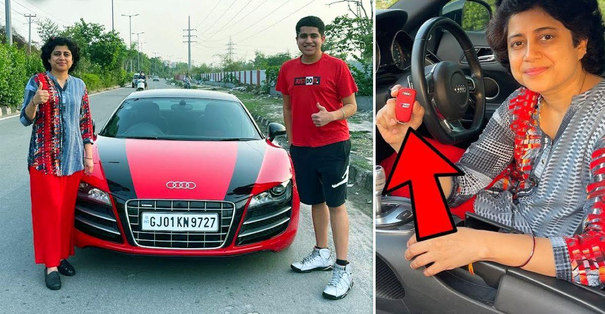 YouTuber teaches his mom to drive an Audi R8 supercar