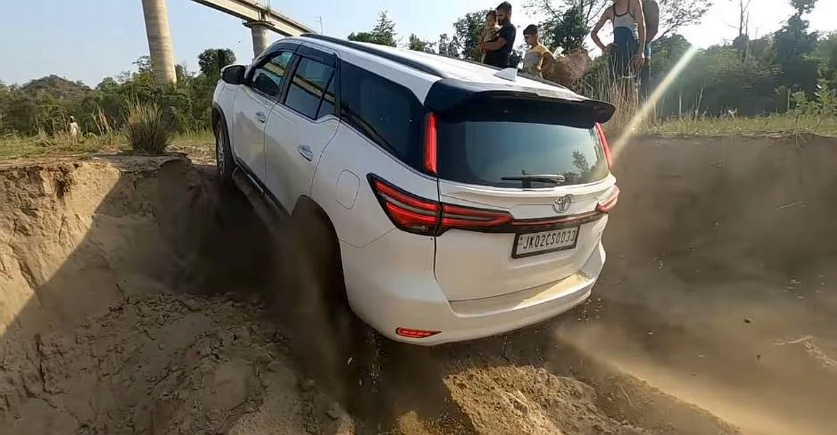 Brand new 2021 Toyota Fortuner goes off roading: Gets stuck