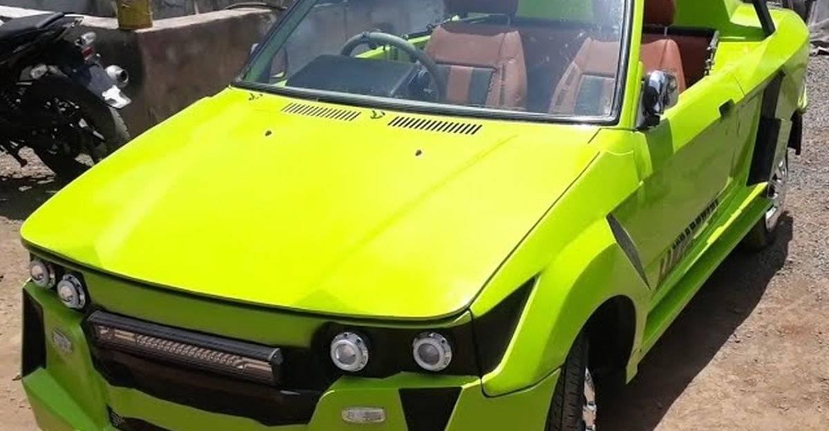 Maruti 800 modified to look like a Lamborghini convertible supercar