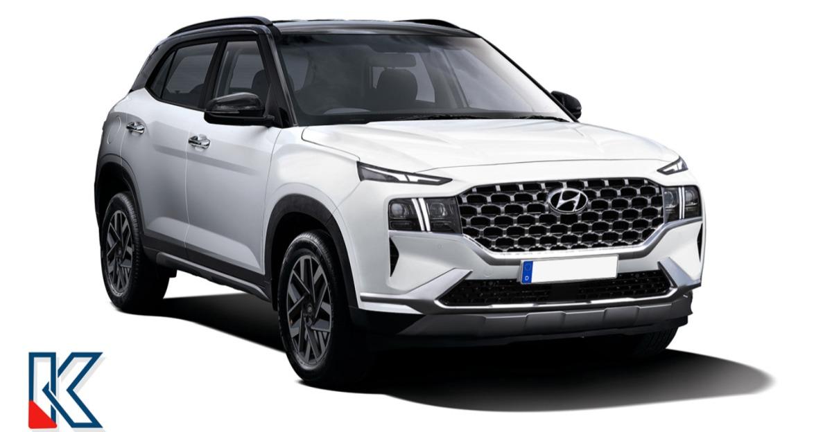 Hyundai Creta Facelift inspired by the Santa Fe looks mean & muscular