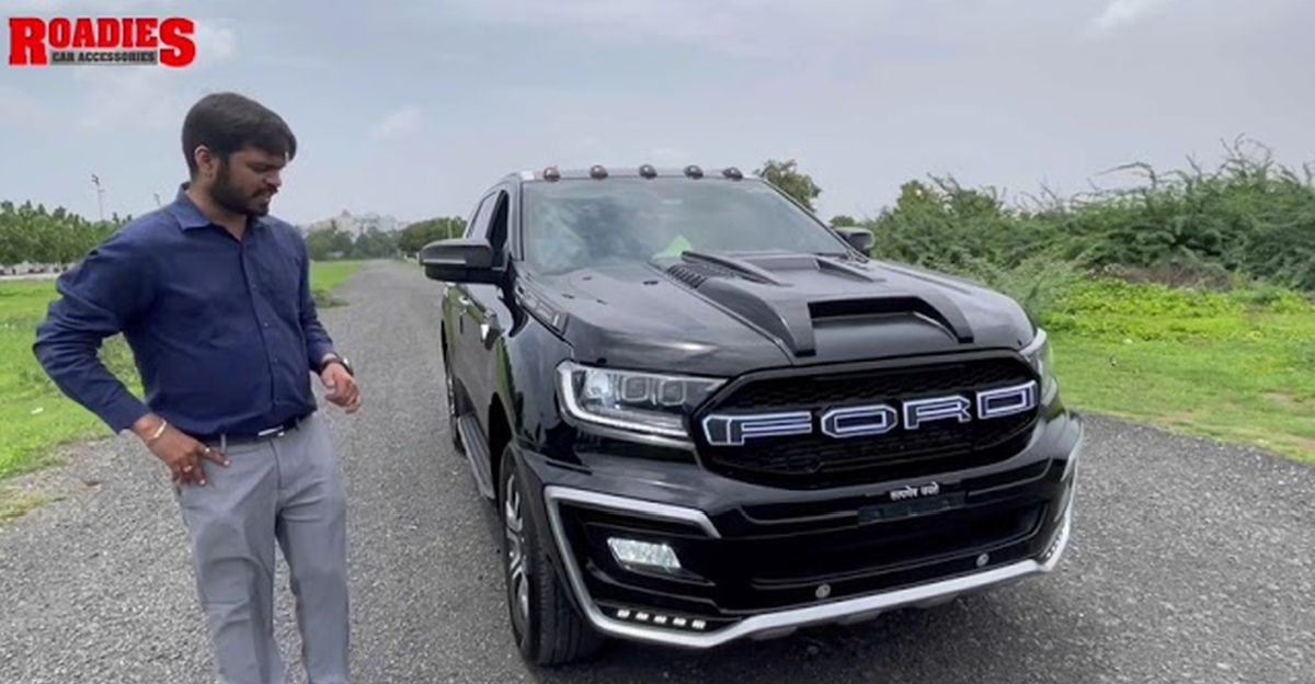 Ford Endeavour modified with aftermarket body kit looks imposing