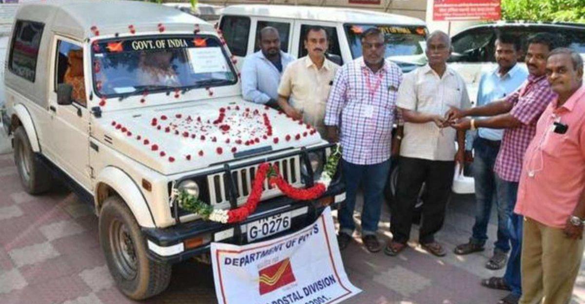 Vellore Post office staff bid farewell to their 22 year-old Maruti Suzuki Gypsy