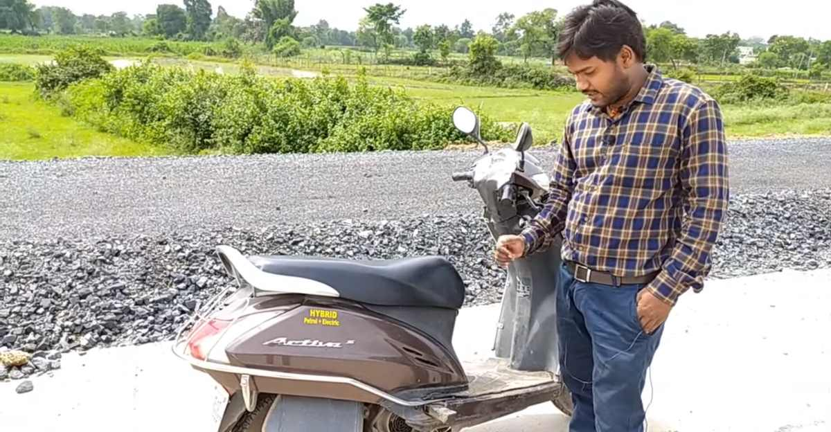 Honda Activa modified into a petrol-electric hybrid scooter