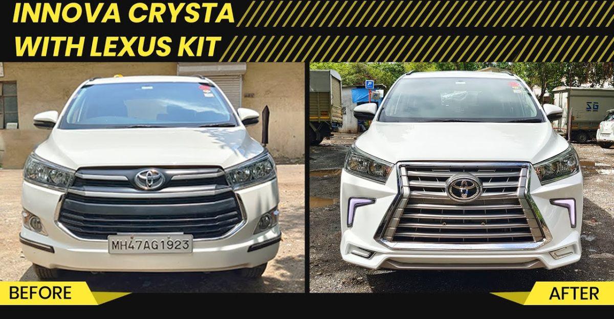 Toyota Innova Crysta modified with Lexus kit looks premium
