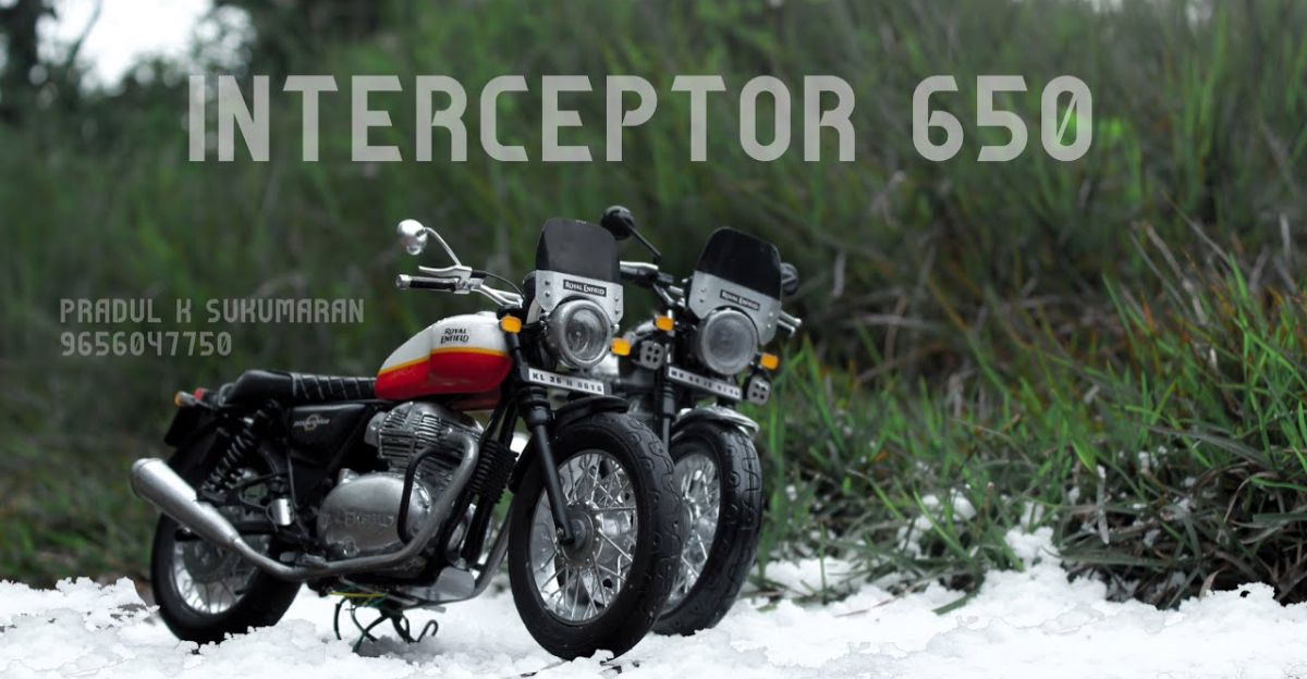 Artist shows how Royal Enfield Interceptor 650 miniature is made on video