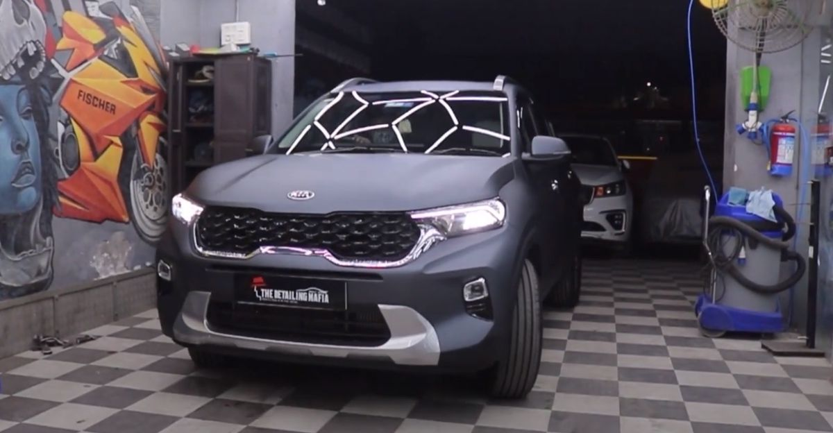 Kia Sonet with matte finished PPF looks  beautiful