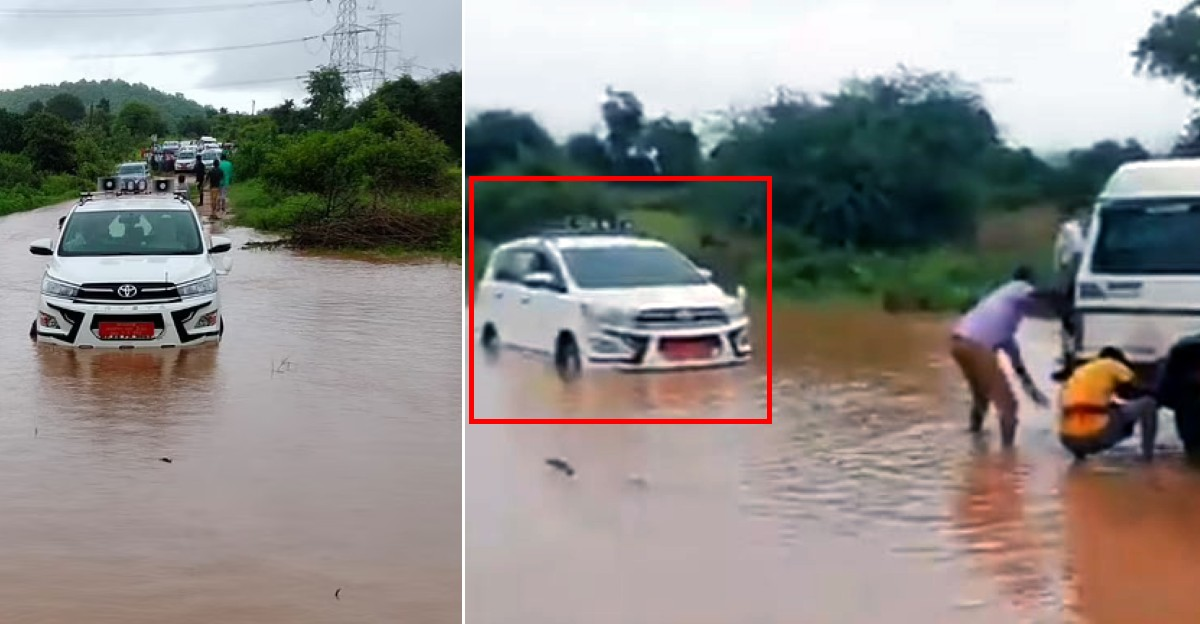 MP's Innova gets stuck in flood water: Villagers hope he now understands their pain [Video]