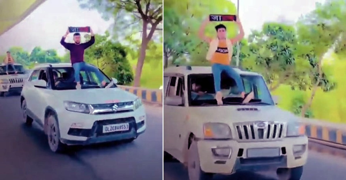 Youth ride on roofs of SUVs: Get slapped with Rs. 36,000 fine