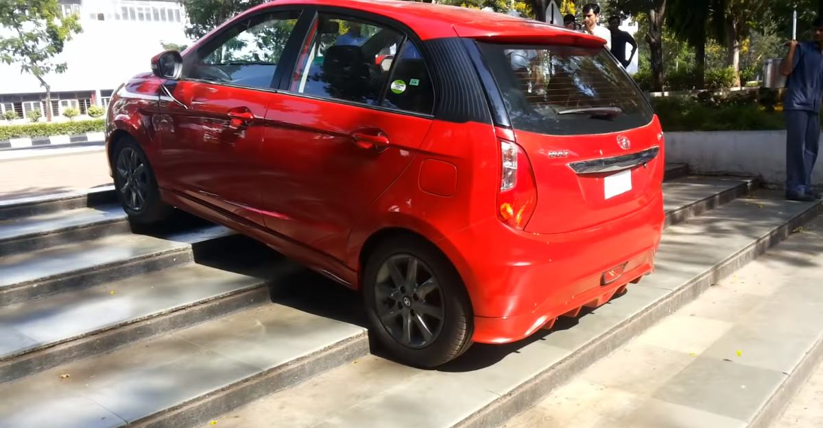 Even hatchbacks like this Tata Bolt can climb stairs, but should you do it?