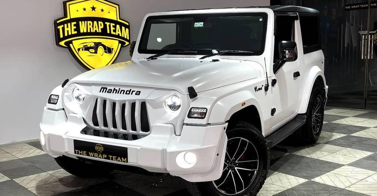 Mahindra Thar modified with satin white wrap looks distinct