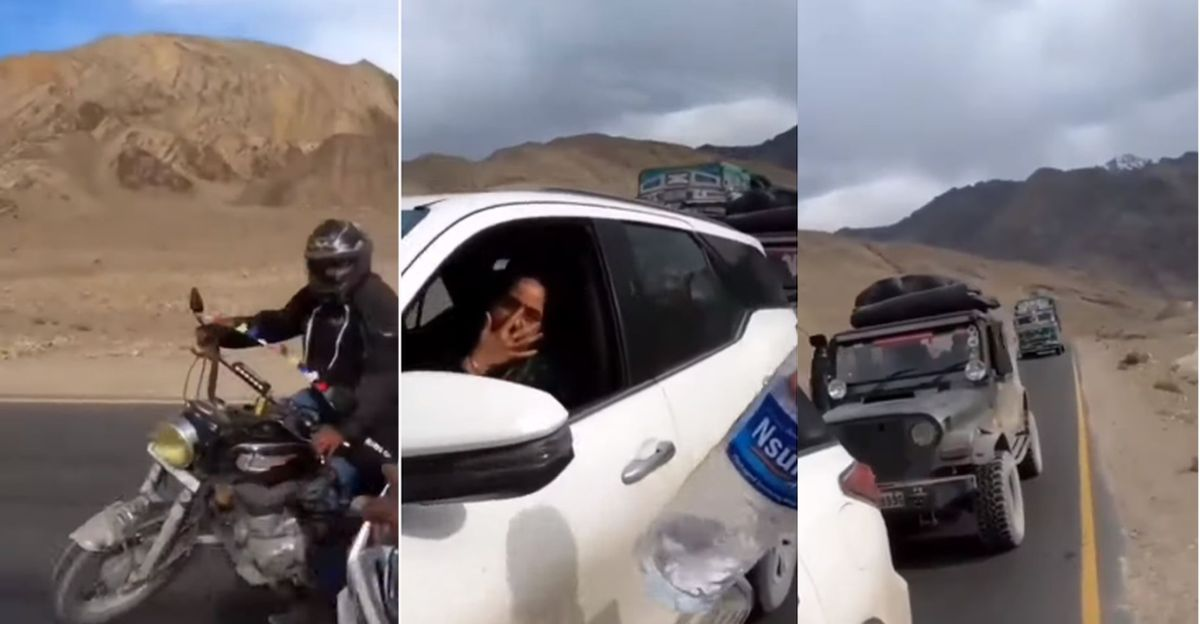 Ladakh tourists in a Toyota Fortuner throw garbage: Bikers stop them & make them take it back [Video]