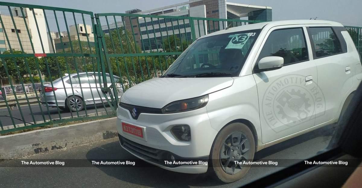 Maruti Suzuki WagonR EV spotted testing without any camouflage