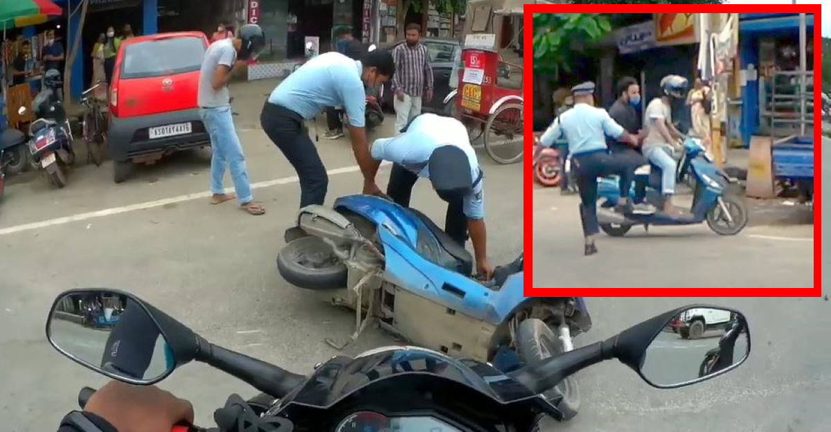 Assam cop kicks scooter to stop the riders, leading to a crash