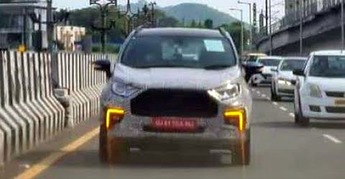 Ford EcoSport Facelift: New spy video shows dual function LED DRLs