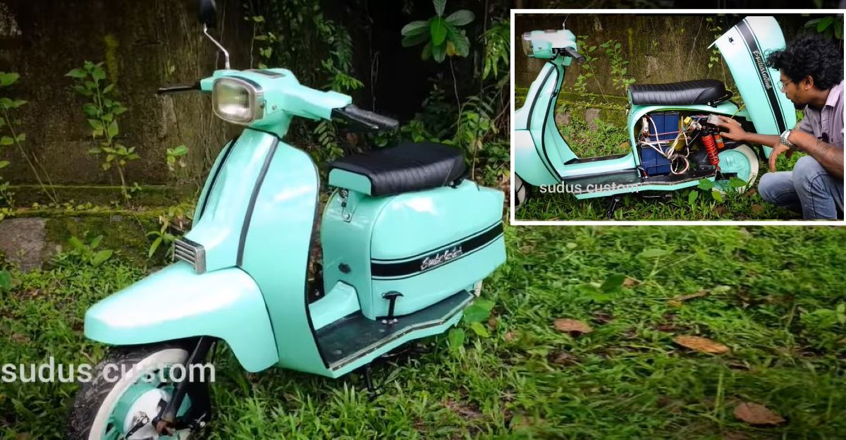 Homemade electric scooter made to look like the Vijai Super vintage scooter