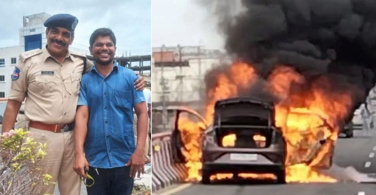 Hyderabad man saves four lives trapped in a burning car: Wins praise from police