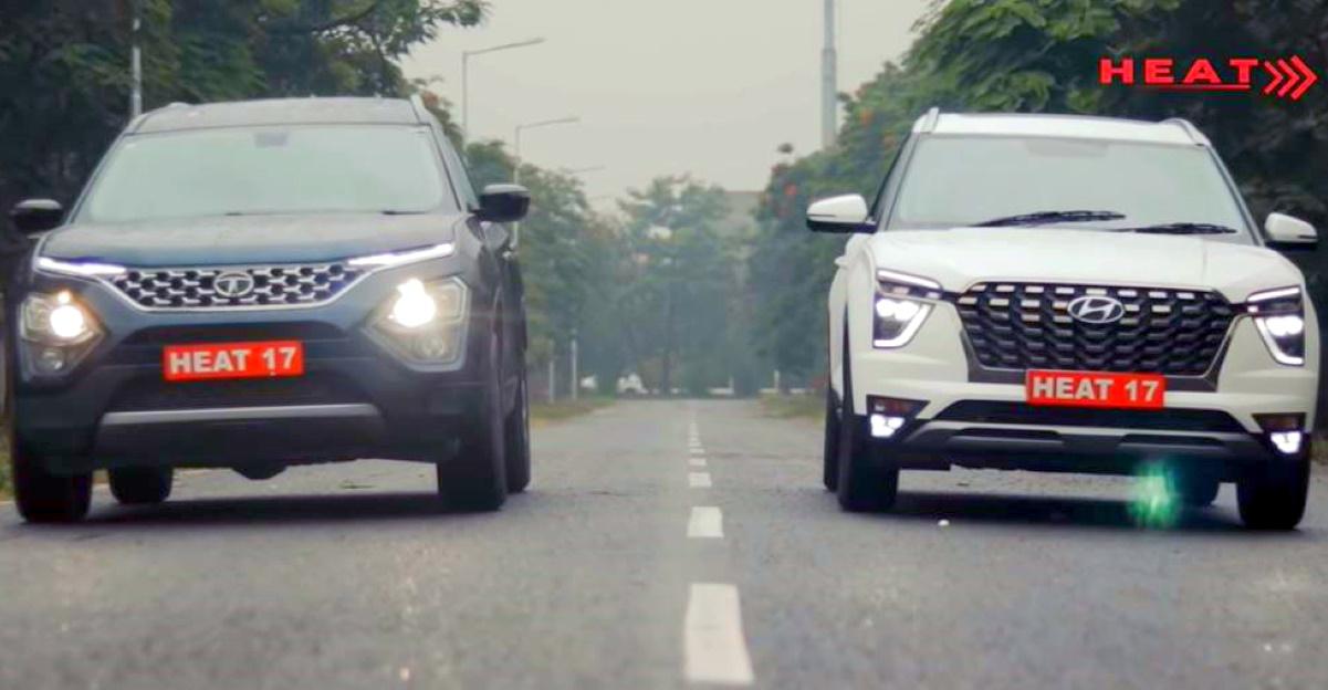 Tata Safari vs Hyundai Alcazar SUV in a classic drag race