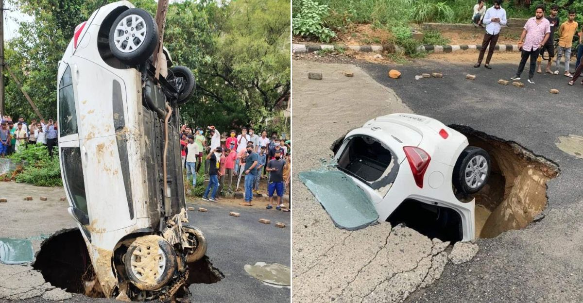 Traffic constable's Hyundai Grand i10 gets trapped in a sinkhole after Delhi rains