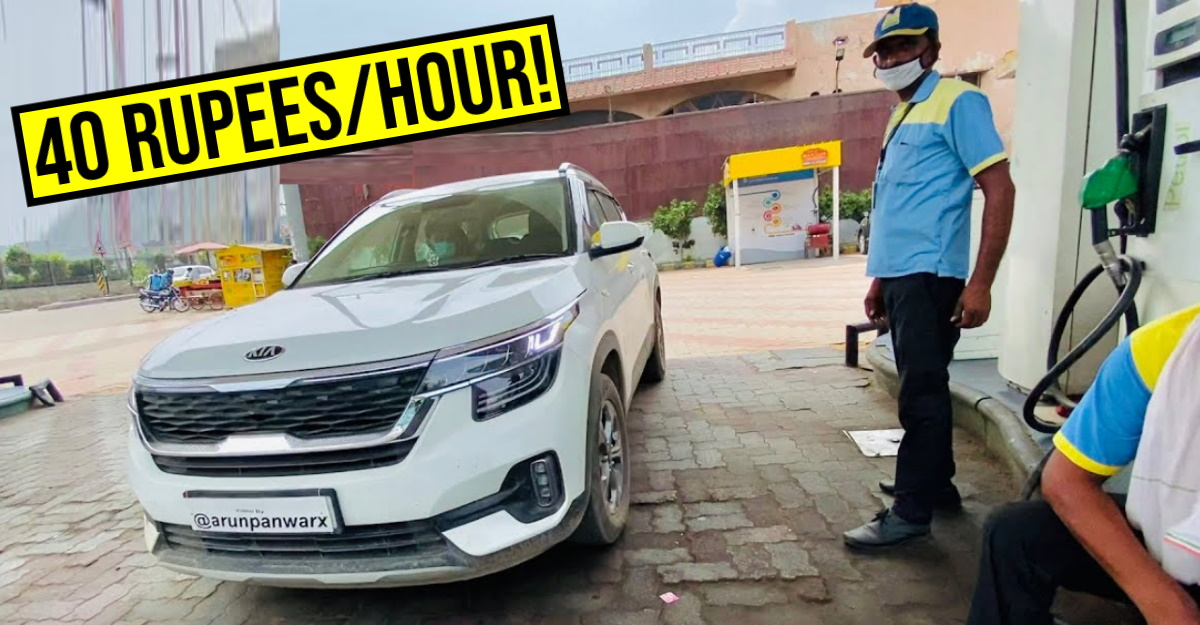 How much fuel will Kia Seltos diesel consume while idling for 1.5 hours with AC on?