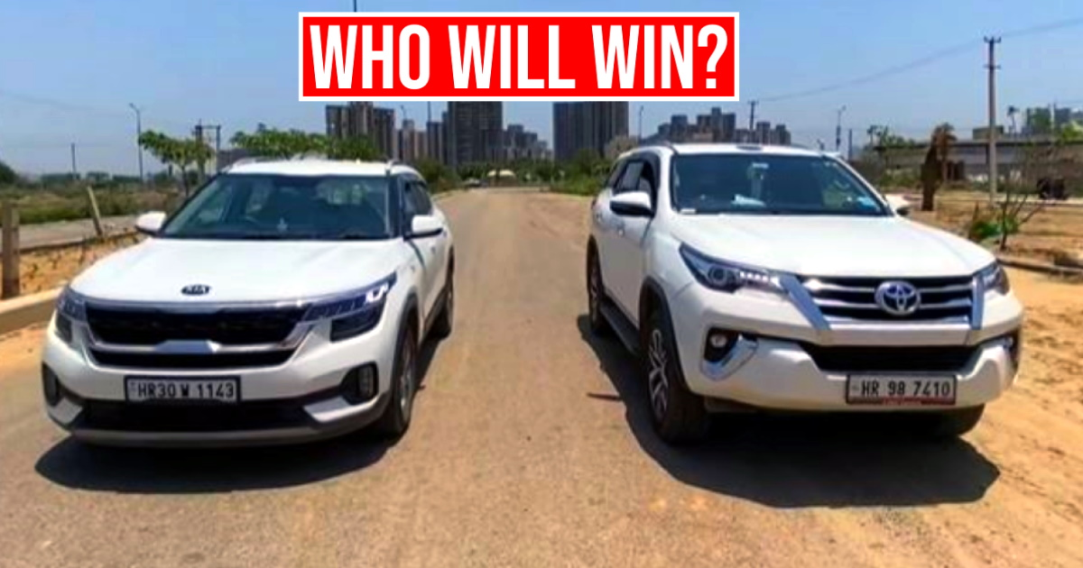 Can a Kia Seltos beat the mighty Toyota Fortuner in a drag race? Here's the answer