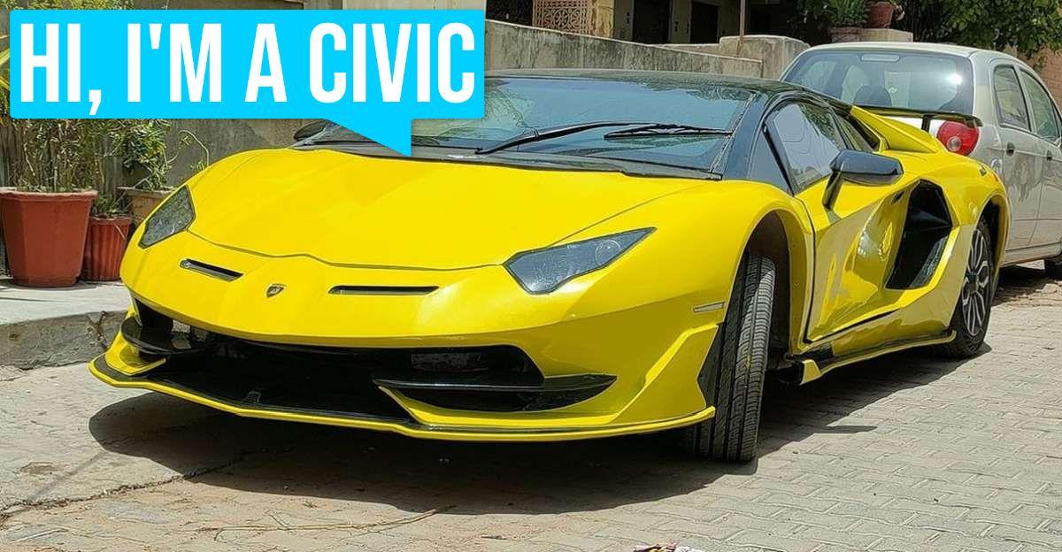 This Lamborghini Aventador SVJ is actually a Honda Civic