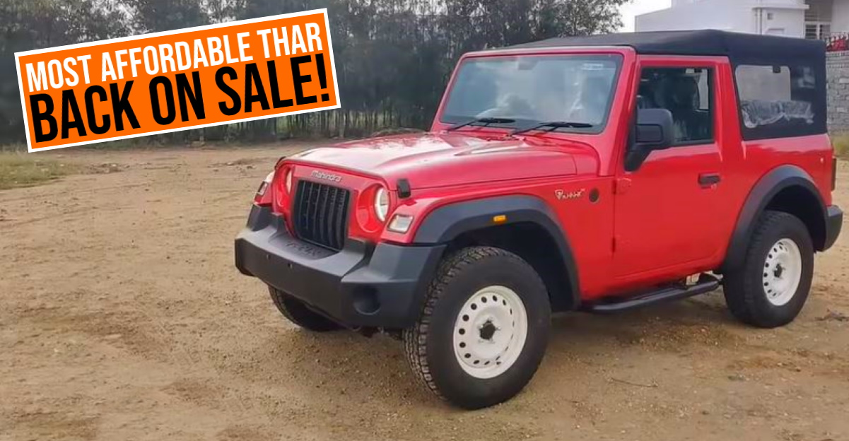 Mahindra Thar AX trim relaunched in the market: Most affordable Thar sold in India