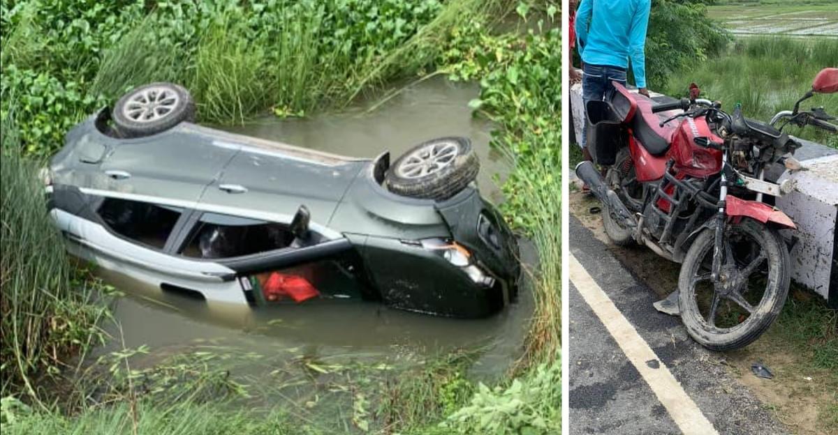 Tata Nexon falls off bridge after accident; Owner thanks Tata quality for saving lives