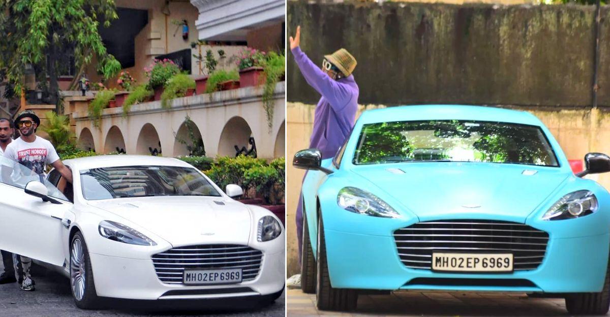 Ranveer Singh wraps his Aston Martin Rapide sportscar