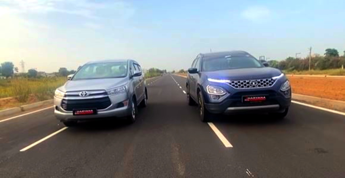 Tata Safari vs Toyota Innova Crysta in a drag race
