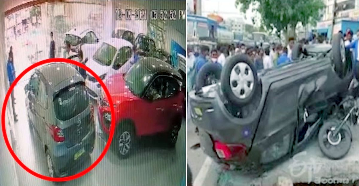 Brand new Tata Tiago falls from first floor during delivery