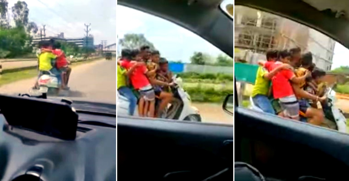7 underage riders caught riding one Honda Activa: Father booked & scooter SEIZED