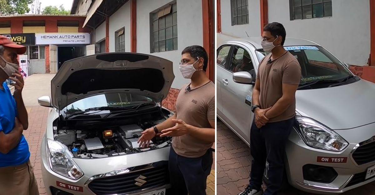 Maruti Suzuki Dzire converted to an electric car using a conversion kit