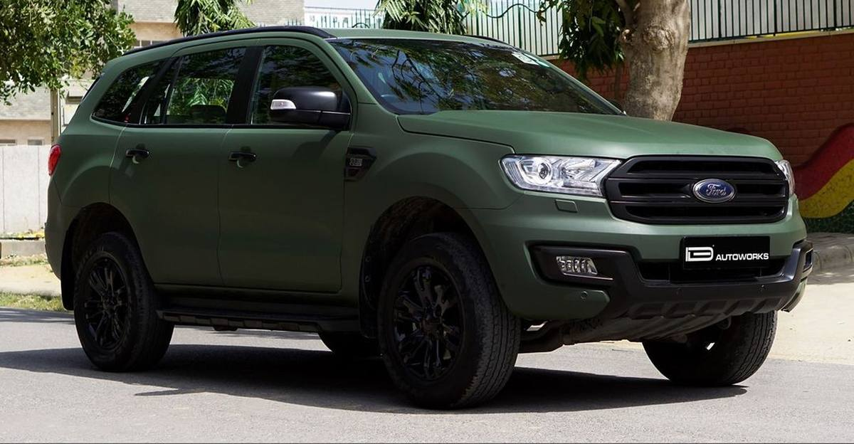 Ford Endeavour wrapped in matte military green is understated menace