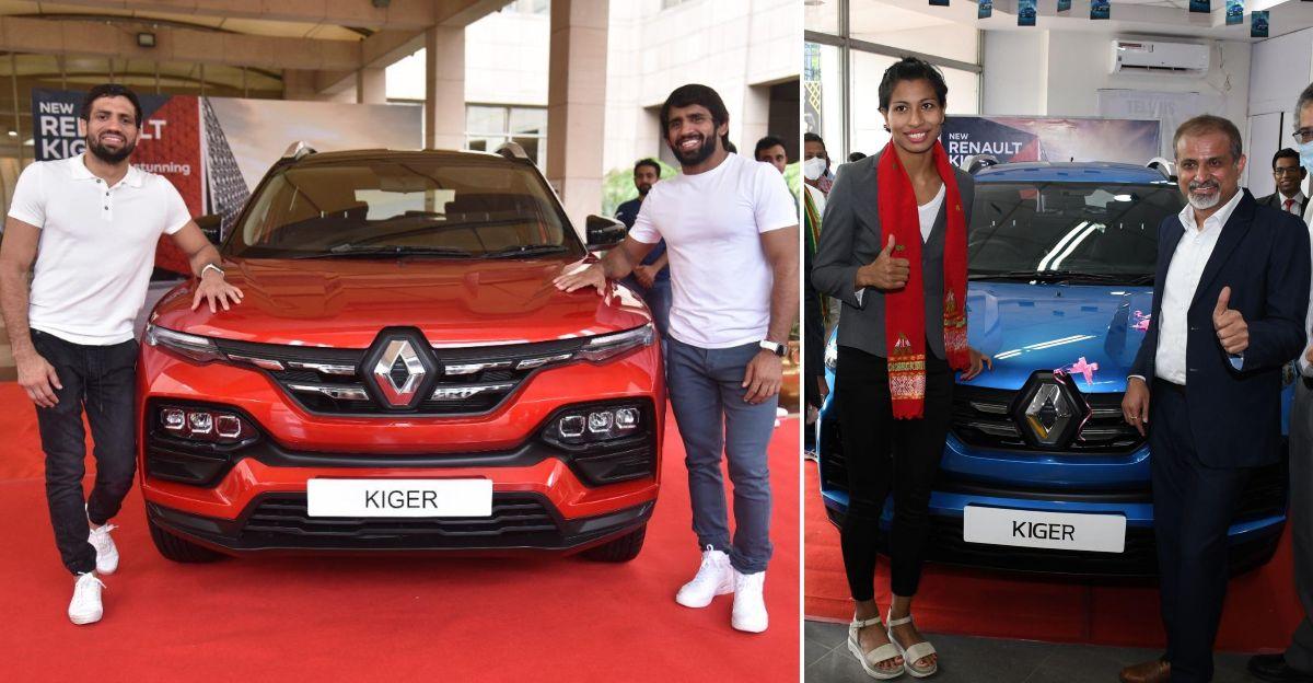 Renault Kiger SUVs presented to Indian Olympic medalists Lovlina Borgohain, Bajrang Punia & Ravi Kumar Dahiya