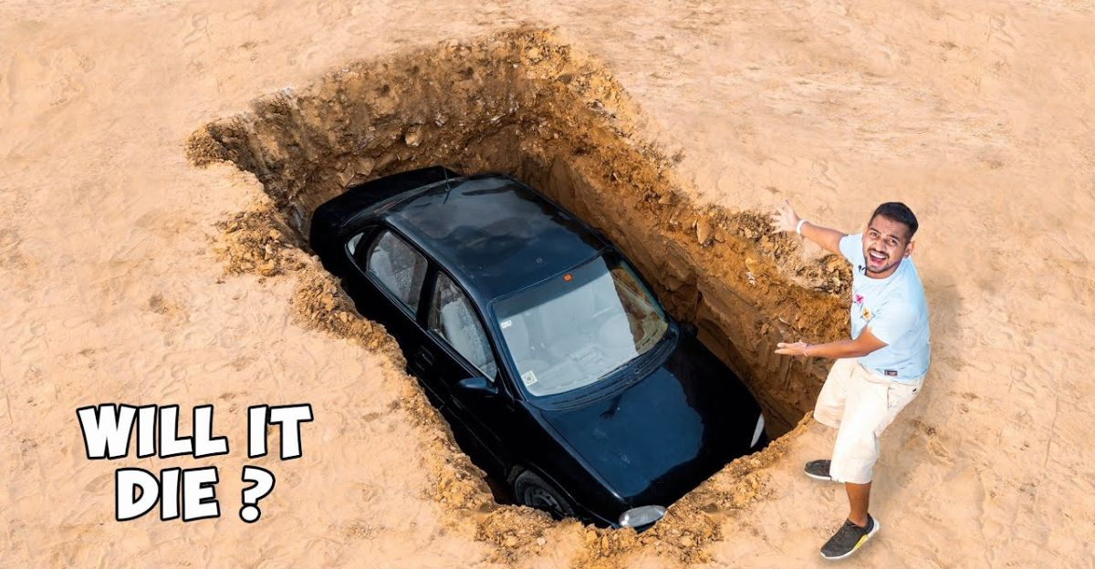 What happens when a car is buried?