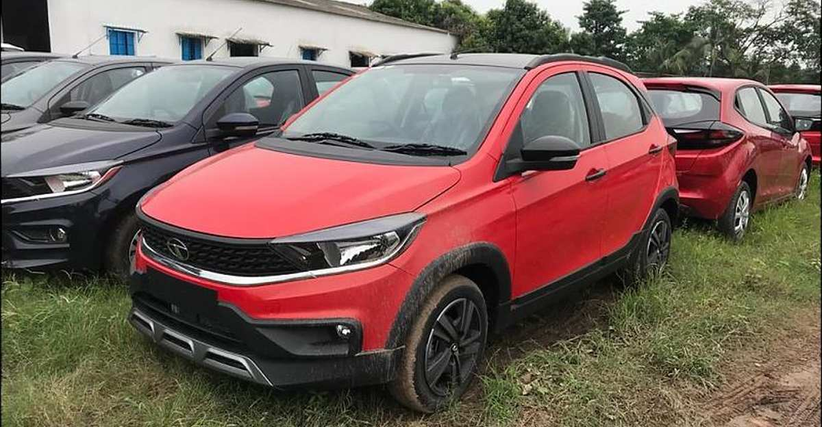 Facelifted Tata Tiago NRG in red colour spied ahead of official launch