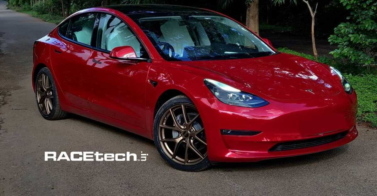 India's first Tesla Model 3 modified with aftermarket alloy wheels